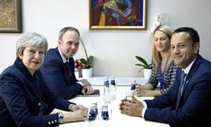 Theresa May (left) and Leo Varadkar (right) in Sofia.