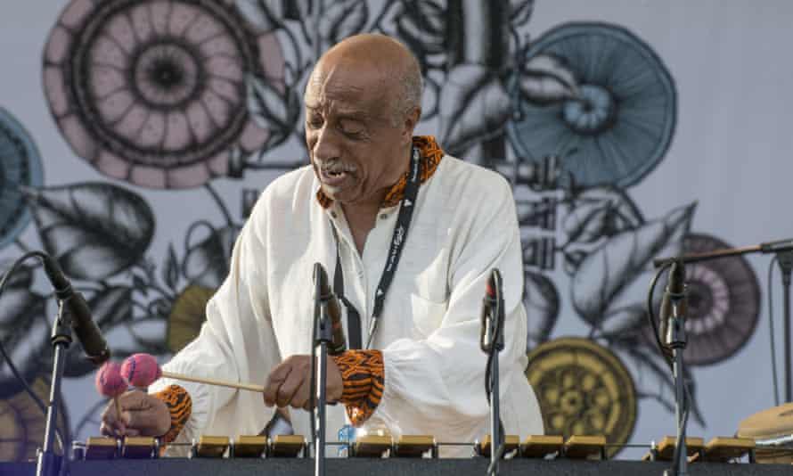 Jazz legend in Ethiopia, Mulatu Astatke plays the vibes at an outdoor festival.