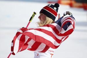 Mikaela Shiffrin of the USA celebrates winning the women's giant slalom.