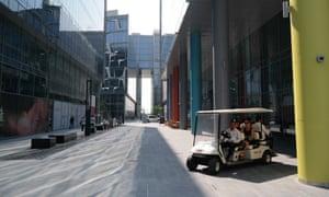 Too hot to walk … the Dubai Design District.