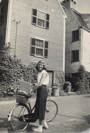 Sylvia Plath standing beside her bicycle, Marblehead, Massachusetts, 1951