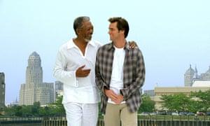 Morgan Freeman and Jim Carrey in Bruce Almighty.