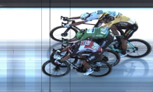 Lotto Soudal rider Caleb Ewan wins the stage ahead of BORA-Hansgrohe rider Peter Sagan and Deceuninck-Quick Step rider Sam Bennett wearing the green jersey, and Team Jumbo-Visma rider Wout Van Aert in this photofinish handout of the finish of Stage 11 - Chatelaillon-Plage to Poitiers.