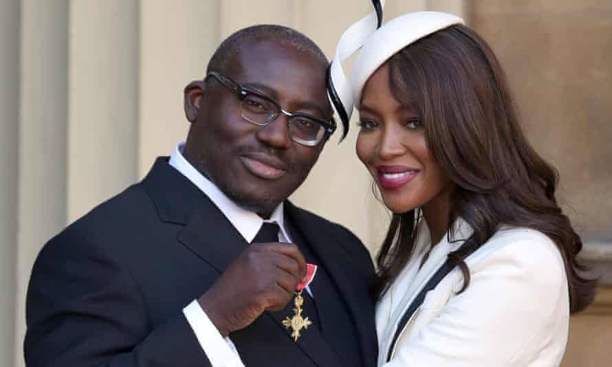 Model Naomi Campbell with fashion stylist Edward Enninful, receiving his OBE at Buckingham Palace, in London, October 27, 2016.