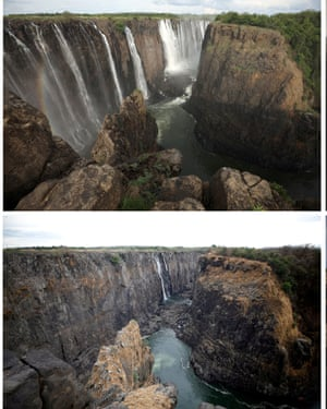 A combination photo of water flow at Victoria Falls before (top) and this week