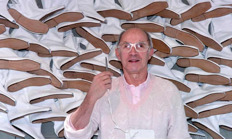 André Courrèges in his workshop in Paris, 1987.