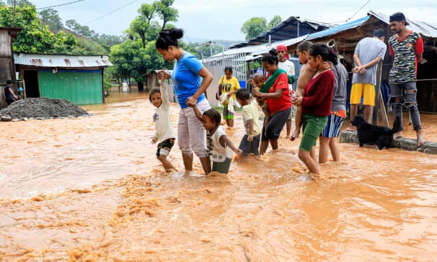 Thousands of people have been displaced after floods and landslides caused by torrential rains hit the eastern part of Indonesia and Timor-Leste.