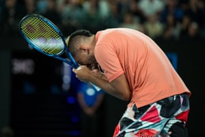Kyrgios reacts to a missed point
