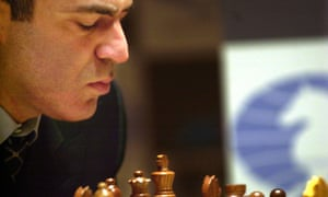 Garry Kasparov plays against the chess champion supercomputer Deep Junior, during the second day of the Man vs. Machine chess championship in New York, Tuesday Jan. 28, 2003.