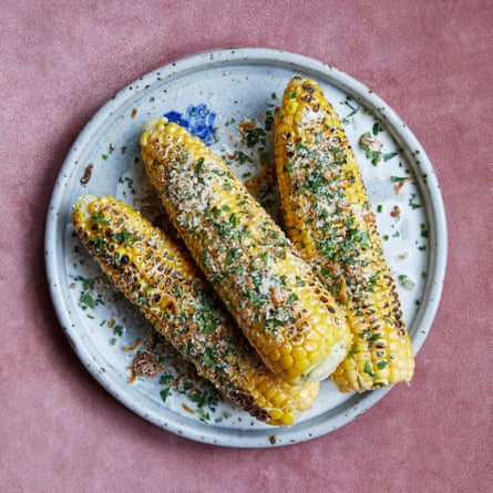 Andi Oliver's corn on the cob, with lime, green chilli and coconut butter.