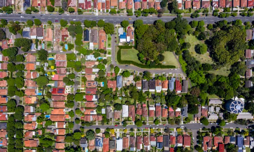 A Sydney suburb from overhead. Real estate agents have been accused of double dipping millions of dollars in jobkeeper payments.