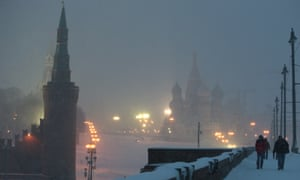 Moscow, evening, with snow