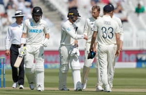Root congratulates Conway for reaching a double century after the innings