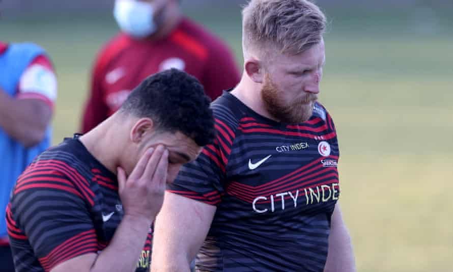 Manu Vunipola (left) and Jackson Wray of Saracens look dejected after the final whistle.