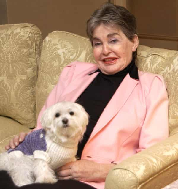 Leona Helmsley with her dog, Trouble.
