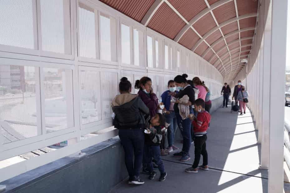 On March 10, 2021, on the Mexican side of the Paso del Norte International Bridge between El Paso, Texas and Ciudad Juarez, Mexico, a group of immigrants who were quickly deported from the United States under Title 42 Title 42 was implemented during the pandemic. A way to reduce the spread of Covid-19 is to quickly expel immigrants who have crossed the border illegally through international ports of entry on the US-Mexico border.  (Photo courtesy of Paul Ratje/AFP) (Photo courtesy of PAUL RATJE/AFP via Getty Images)