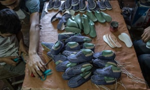 Shoes made in the factory.