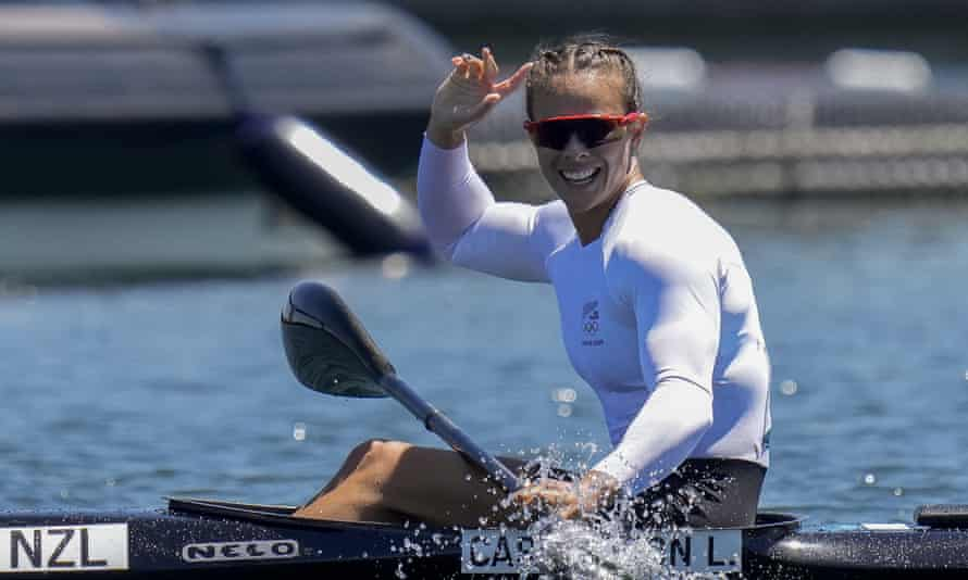 Lisa Carrington, of New Zealand, reacts after winning gold in the kayak single 500m final in Tokyo – her third gold of the Games.