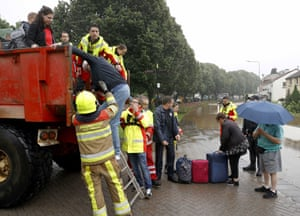 The fire brigade evacuate people from their homes in South Limburg, the Netherlands