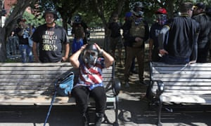 Members of the right-wing Patriot Prayer group gather before a rally in Portland, Oregon, US August 4, 2018