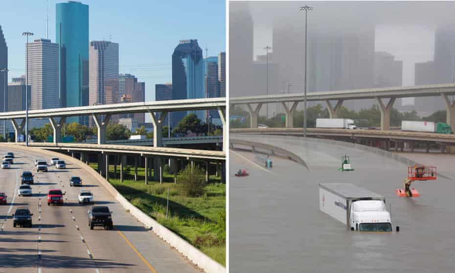 Houston overpass before and after flooding