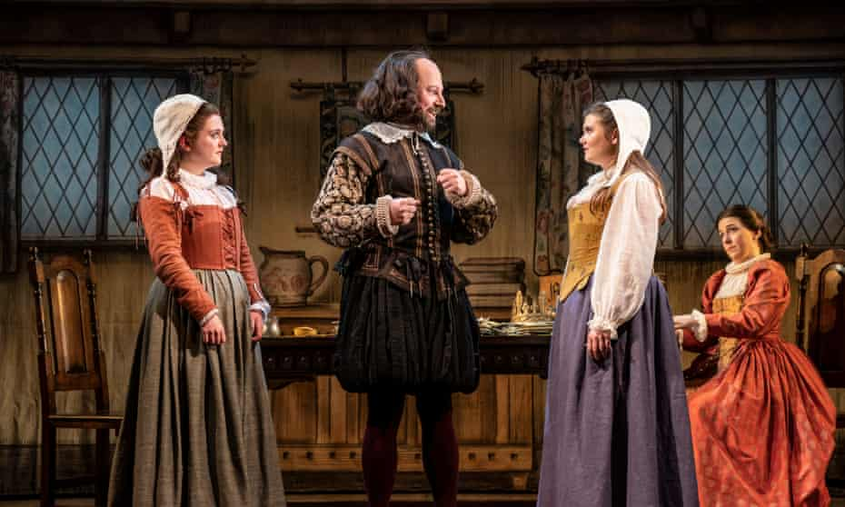 Consistently funny … David Mitchell with Helen Monks, Danielle Phillips and Gemma Whelan in The Upstart Crow.
