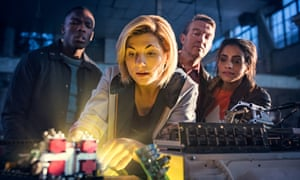 Jodie Whittaker with her co-stars Tosin Cole, Bradley Walsh and Mandip Gill