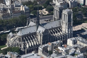 This file photo taken on July 14, 2017, shows an aerial view of Notre Dame Cathedral in Paris.