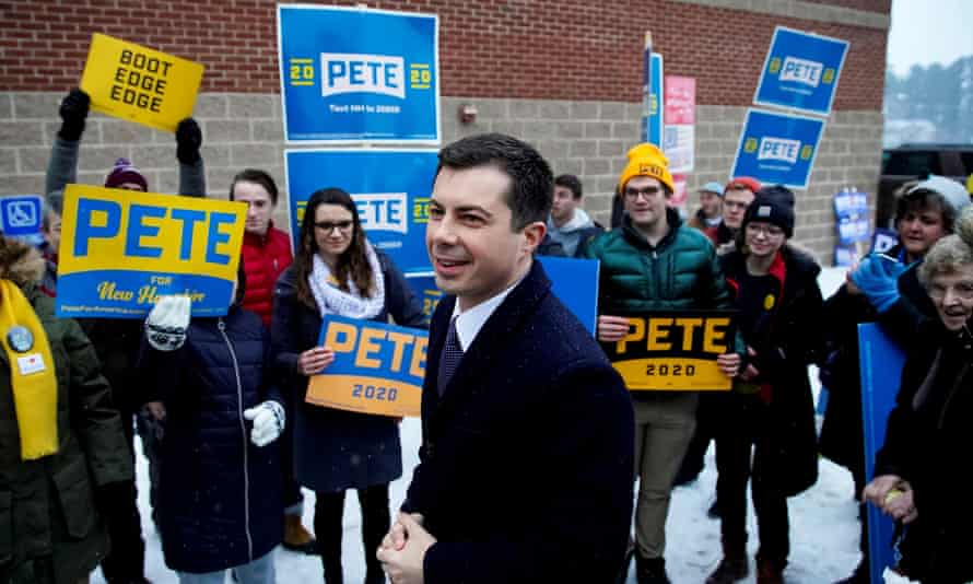 Pete Buttigieg drops by a polling location in Hopkington, New Hampshire, on 11 February.