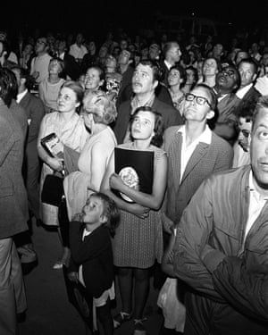 A crowd watching the images of Apollo 11 in Paris, France