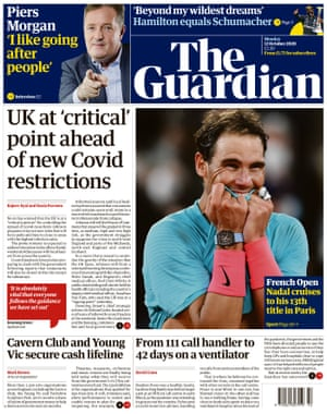 The Guardian front page 12 October 2020.