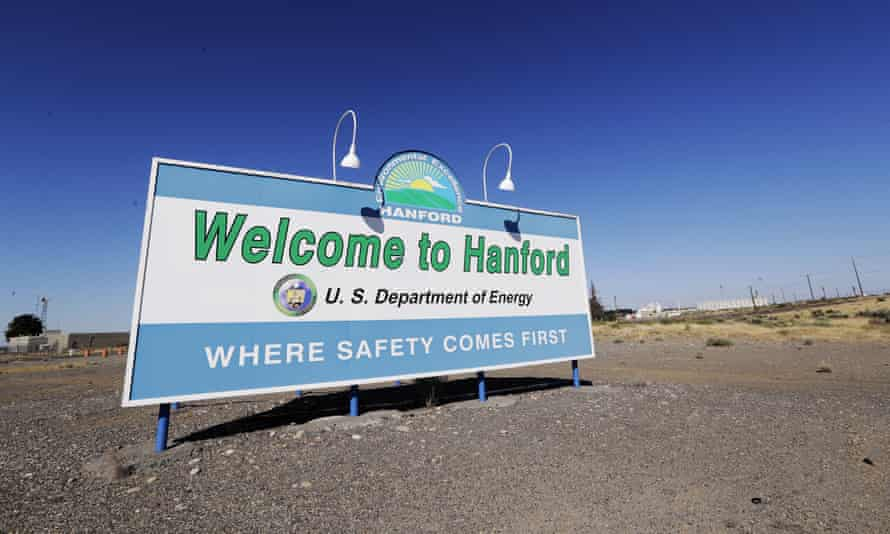 A sign at the Hanford Nuclear Reservation near Richland, Washington, proclaims the site is 'where safety comes first'.