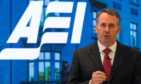 In 2017, the then British trade secretary, Liam Fox, speaks at the American Enterprise Institute in Washington DC.