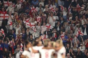 England fans celebrate after Ellen White scored England's fourth goal.