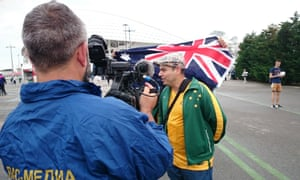Football historian Les Street is interviewed before the match in Sochi.