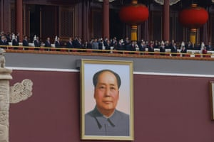 Chinese president Xi Jinping and others above a portrait of Mao Zedong in Tiananmen Square during the celebrations