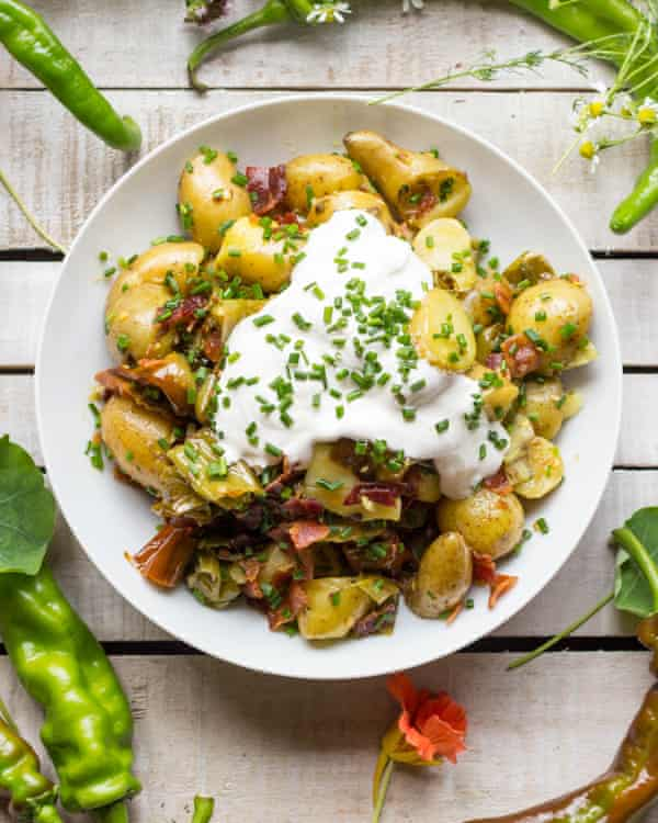 Hot potato salad with bacon.