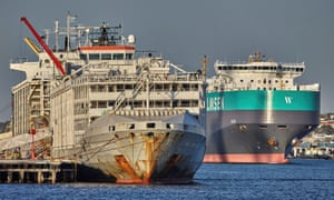The Gulf Livestock 1 is seen at Fremantle Harbour