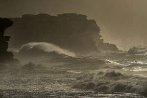 Huge swell continues to pound the coast near Coogee beach in Sydney
