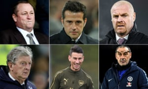 Clockwise from top left: Newcastle owner Mike Ashley, Everton manager Marco Silva, Burnley manager Sean Dyche, Chelsea manager Maurizio Sarri, Arsenal centre-back Laurent Koscielny and Crystal Palace manager Roy Hodgson.