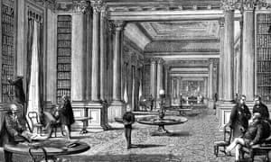 An illustration of the library of the Reform Club, London, in 1891.