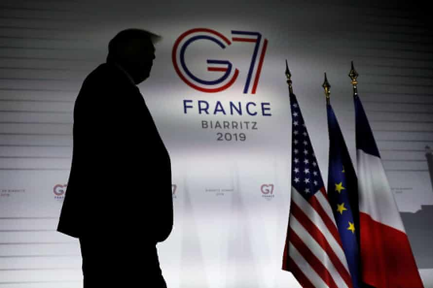 Donald Trump at the G7 summit in Biarritz, France, on 26 August.