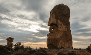 A stone artwork on the outskirts of Broken Hill.