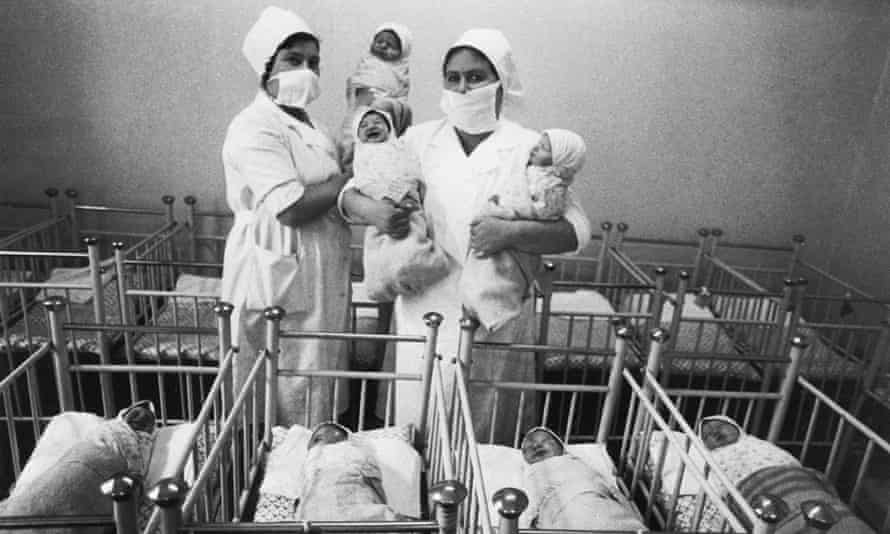 Newborn babies in the Mukarovsky maternity home near Kiev in the aftermath of the 1986 Chernobyl disaster