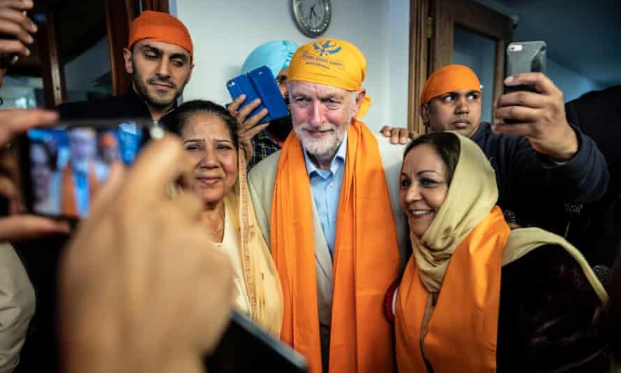 Jeremy Corbyn at the Gurdwara Sri Guru Singh Sabha Sikh temple.