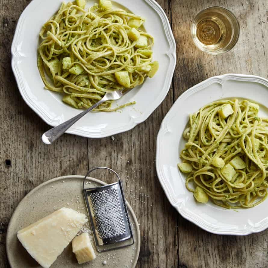 Rachel Roddy's linguine with courgette, basil and almond pesto