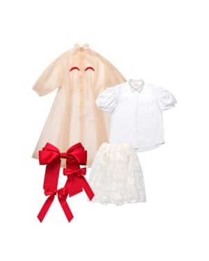 Tulle coat, £99.99, shirt, £59.99, skirt, £149.99, and bows, £24.99.