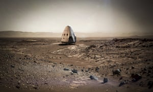 An artist's concept photo of a SpaceX dragon capsule on the surface of Mars.