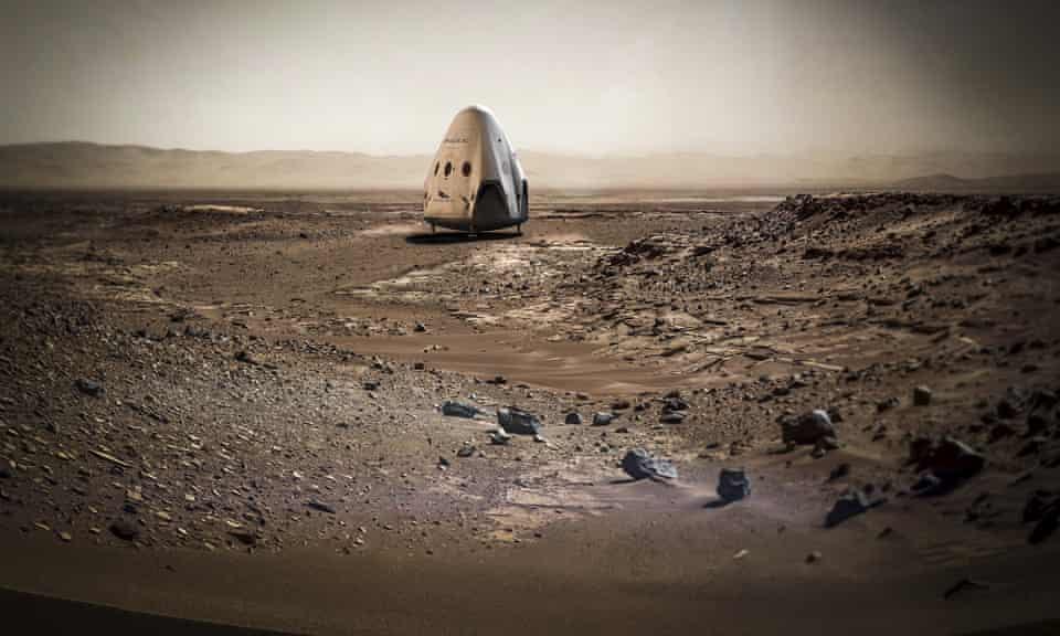 An artists rendering of Elon Musk's SpaceX dragon capsule on the planet Mars.