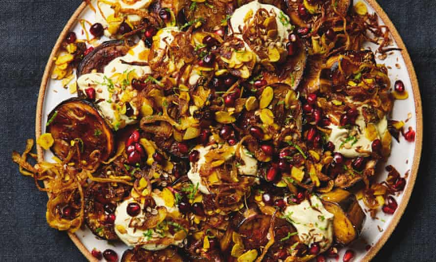 Yotam Ottolenghi's roast aubergine with curried yoghurt, caramelised onions and pomegranate.